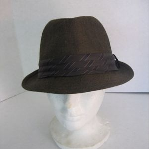 Brown Houndstooth Fabric Trilby Hat Unisex Sz57cm